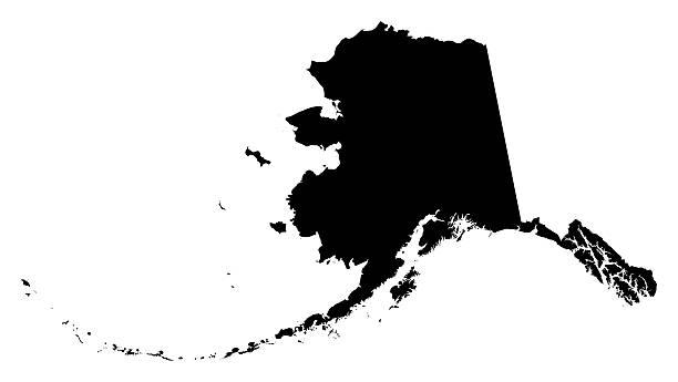 Alaska contorno bianco e nero 2015 - foto stock