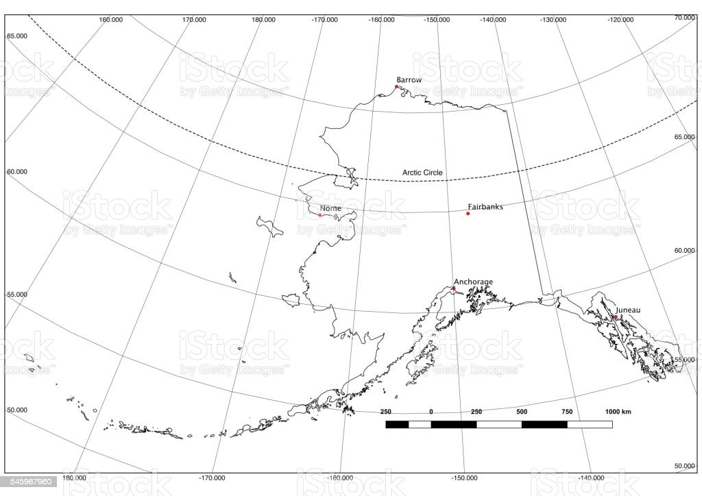 Alaska State Outline in Black and White, Lat/Long, Major Cities stock photo