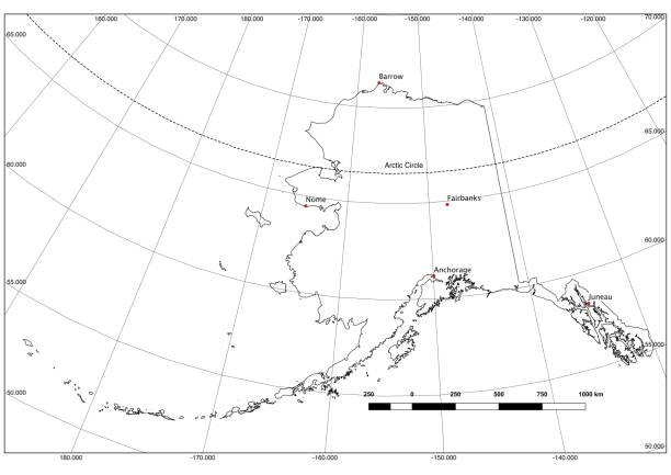 alaska state outline in black and white, lat/long, major cities - alaska us state stock photos and pictures