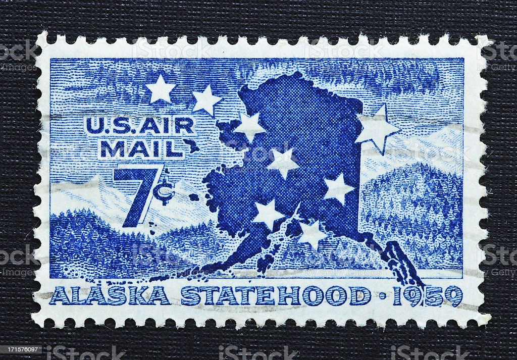 Alaska Statehood 7 Cent Airmail Stamp Royalty Free Stock Photo