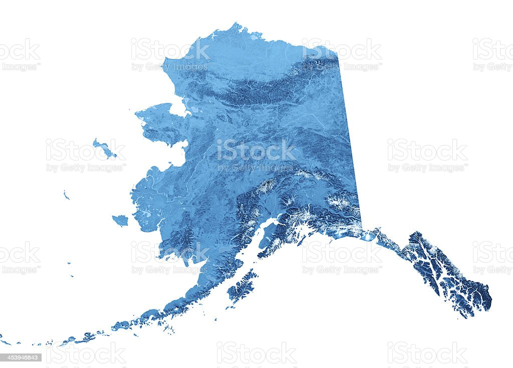Alaska Topographic Map Isolated Stock Photo - Download Image Now ...