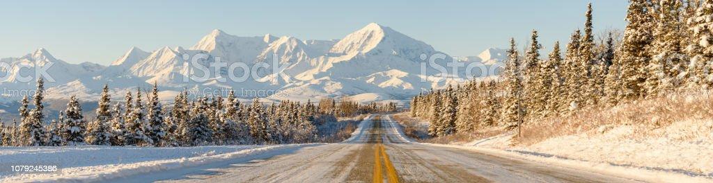 Alaska Winter Highway Mountains Panorama - Royalty-free Adventure Stock Photo