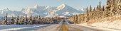 Alaska Winter Highway Mountains Panorama