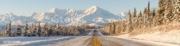 Alaska Winter Highway Mountains Panorama Stock Photo - Download Image Now