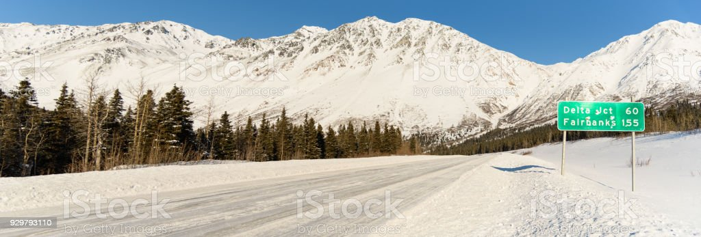 Alaska Winter Highway Panorama With Road Sign stock photo