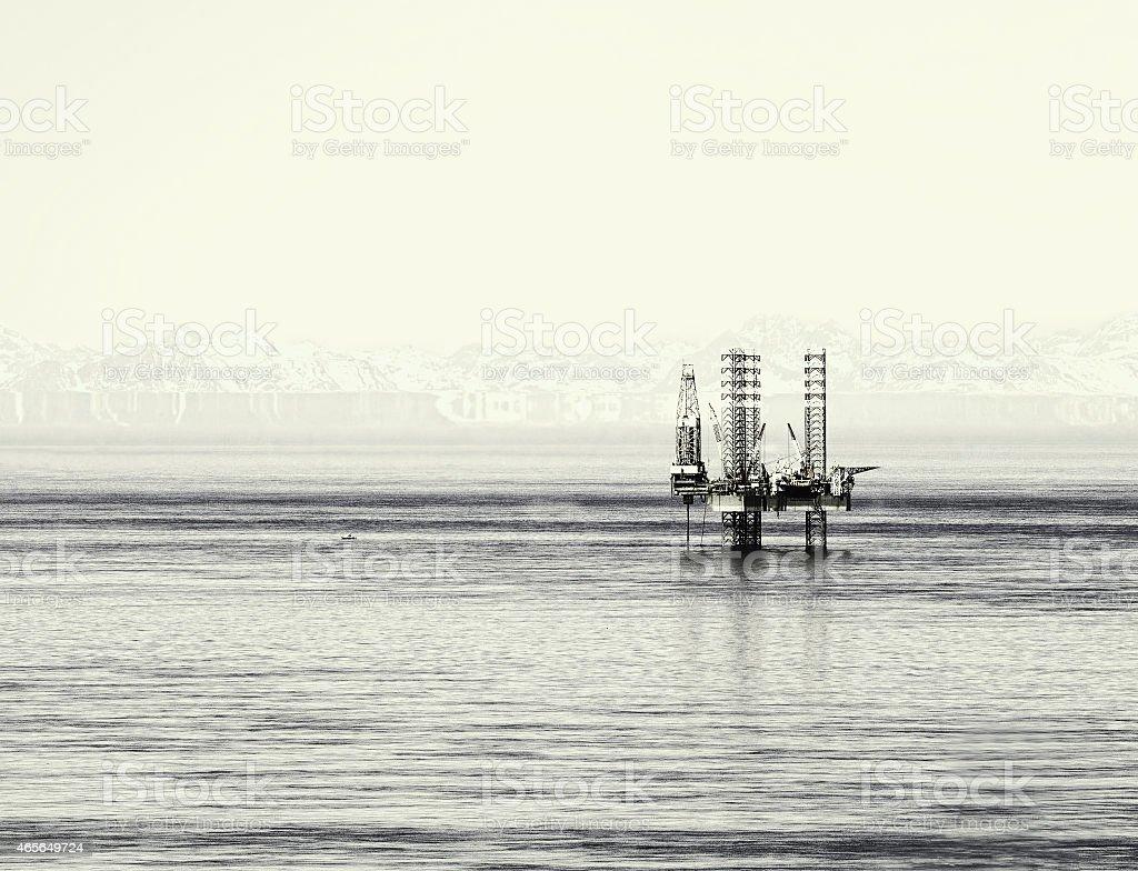 Alaskan drilling rig stock photo