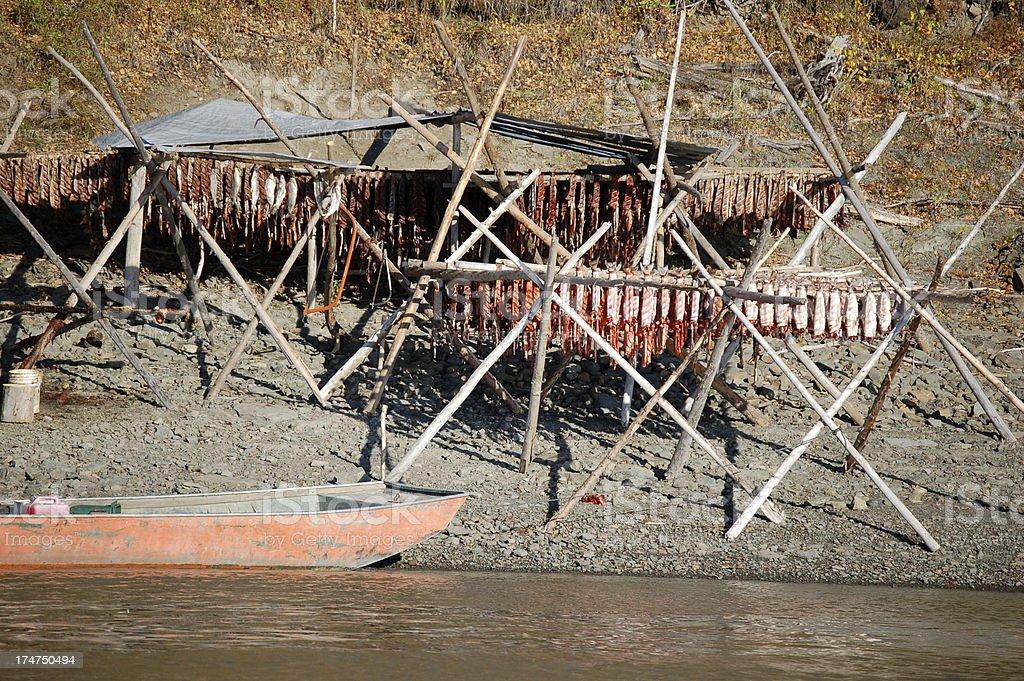 Alaskan Fish Camp stock photo