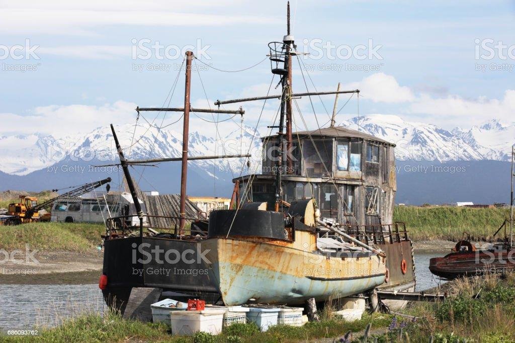 Alaskan Fishing Boat Harbor Scene stock photo