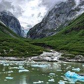 Alsakan glacier valley with blue glacial ice