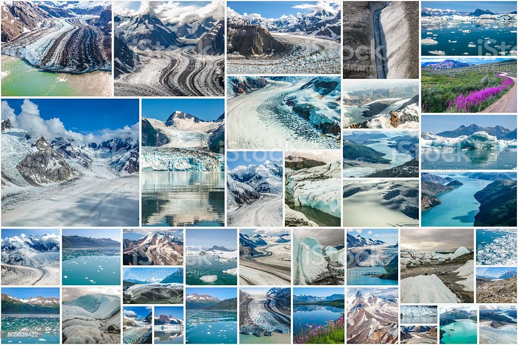 Alaskan glaciers collage stock photo