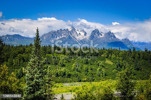 Rugged mountain peaks rise over the green river valleys of Denali National Park
