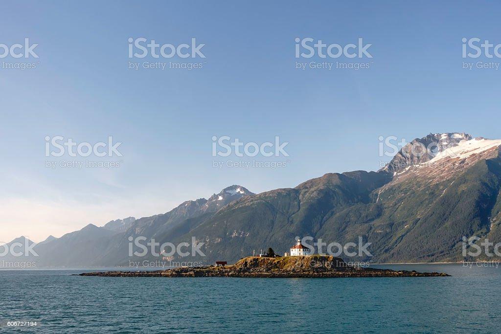 Alaskan lighthouse no longer in use but of scenic interest stock photo