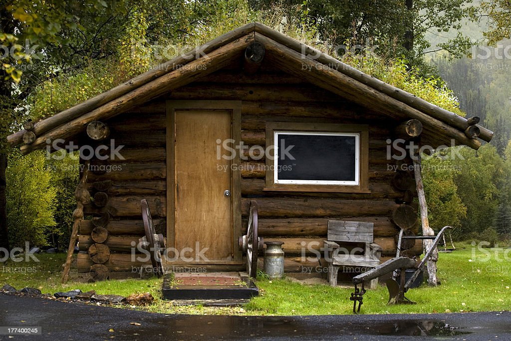 Alaskan Log Cabin With Sod Roof Stock Photo Amp More
