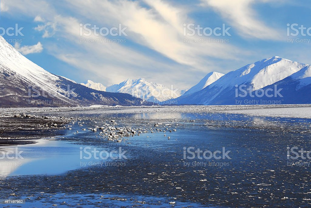 Alaskan Mountain and Frozen Sea Landscape stock photo