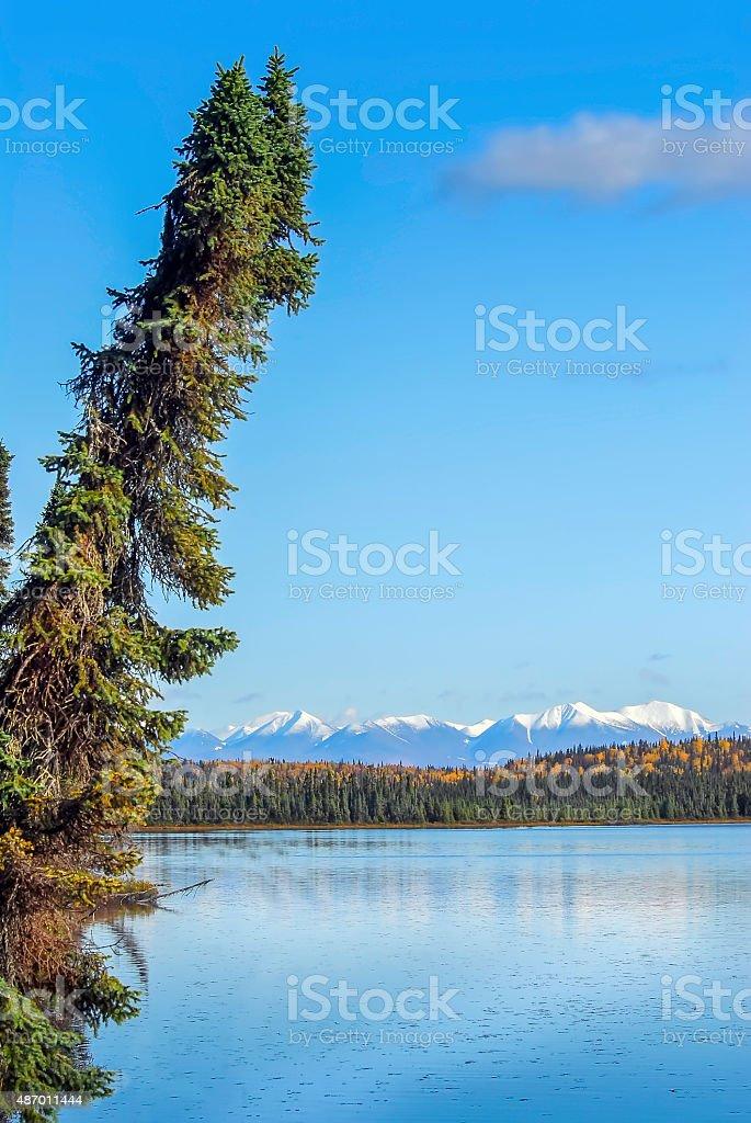 Alaskan Mountain Lake Landscape in Autumn stock photo