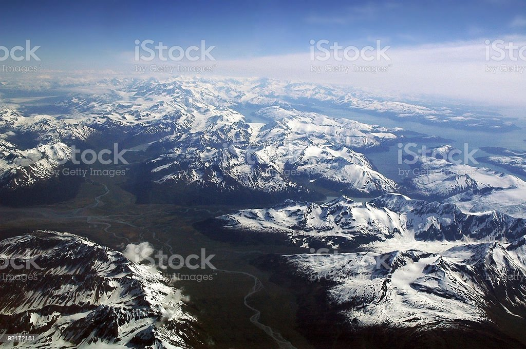 Alaskan Mountain Views From Cockpit stock photo