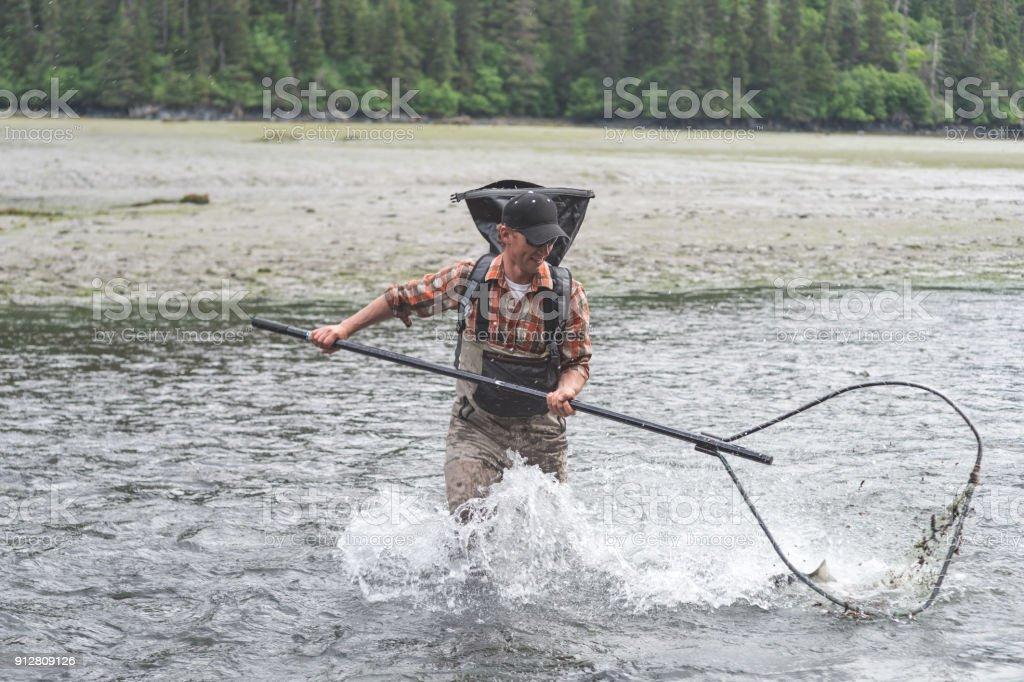 Alaskan Net Fishing! stock photo