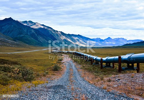 an image of the trans-alaskan oil pipeline that carries oil from the northern part of Alaska all the way to valdez. this shot is right near the arctic national wildlife refuge