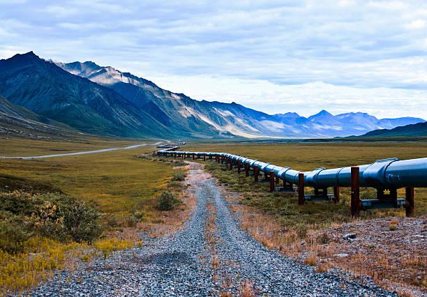 Olio dell'alaska pipeline in north slope regione di alaska - foto stock