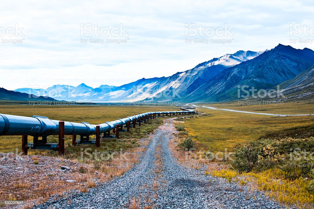 Alaskan oil pipeline in the north slope region of alaska stock photo