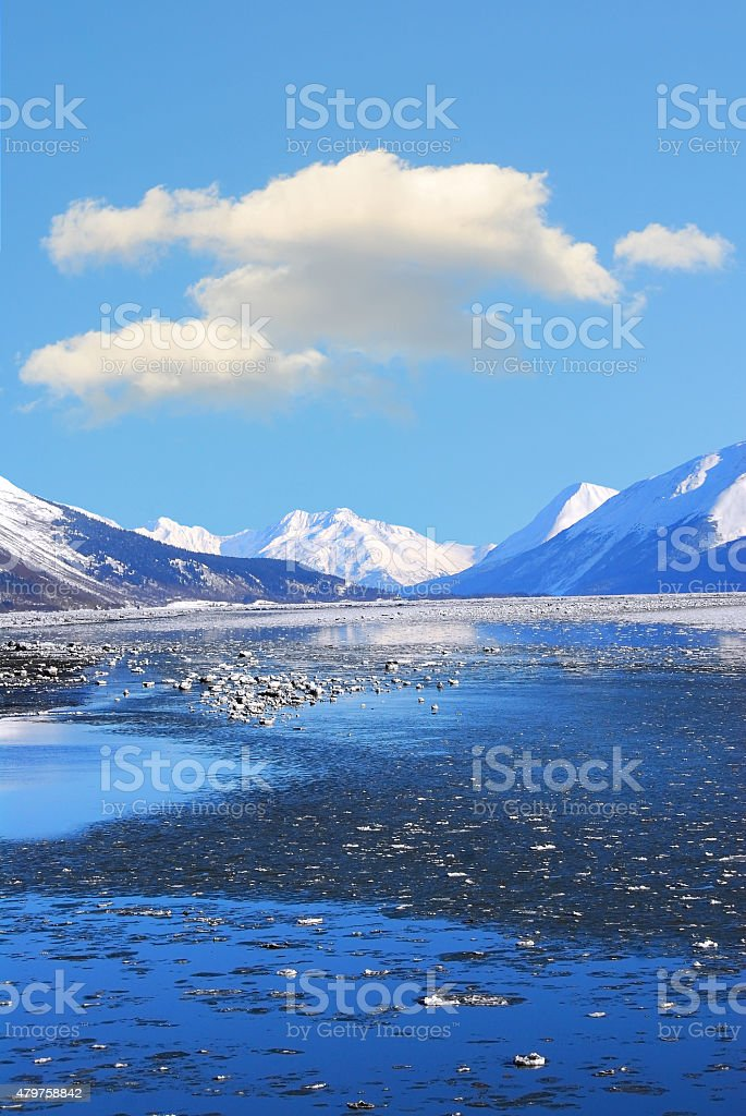 Alaskan Winter Mountain Ocean Landscape stock photo