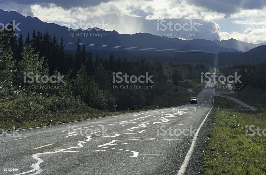 Alaska's endless roads stock photo