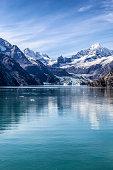 Cruising through Alaska's Glacier Bay National Park. Johns Hopkins Glacier, summer.