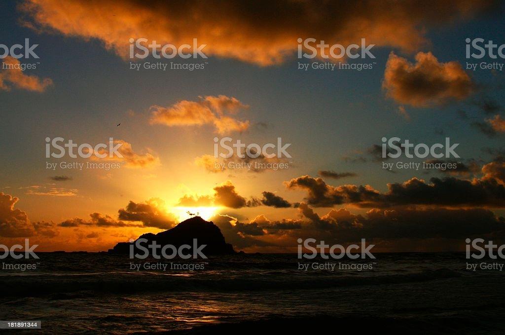 Alau island in Hana Maui Hawaii at sunrise stock photo