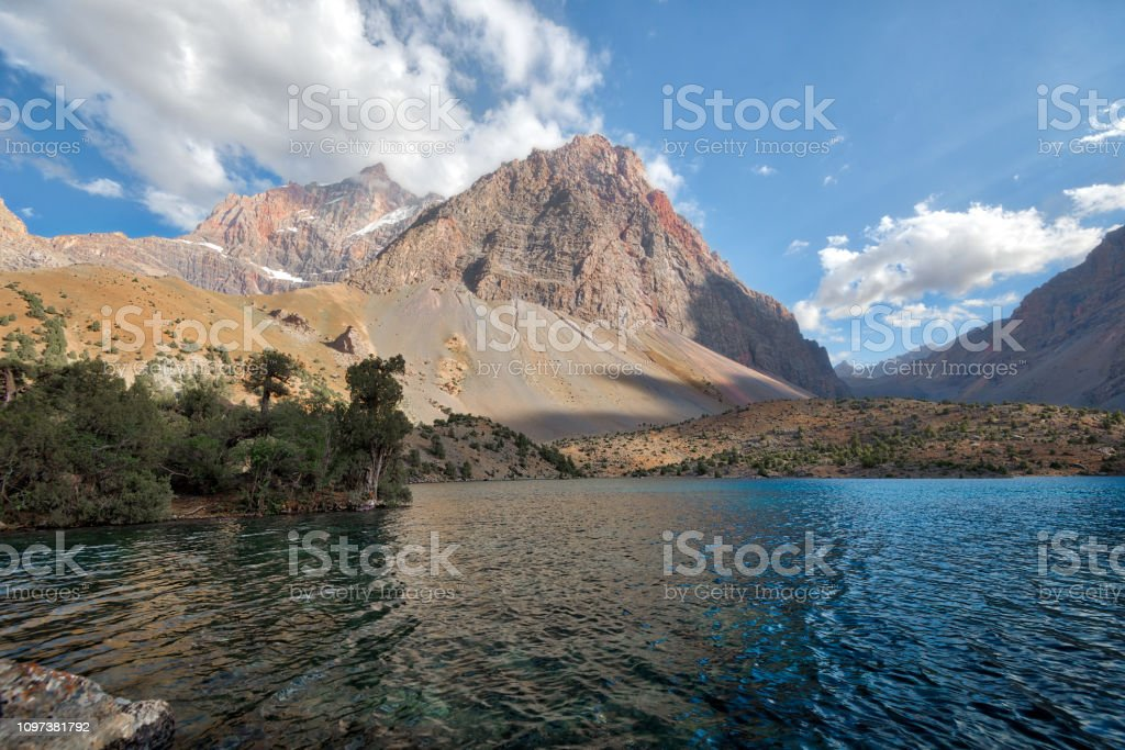 Alaudin Lake in the Fann Mountains, taken in Tajikistan in August 2018 taken in hdr stock photo