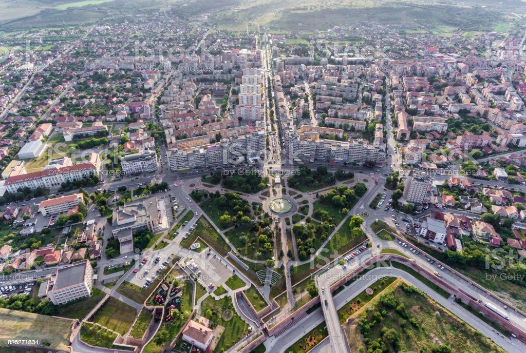 Alba Iulia City Aerial View stock photo