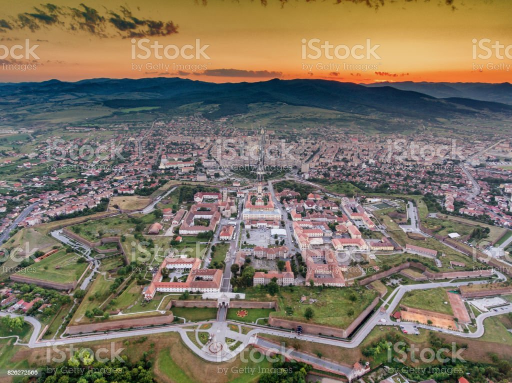 Alba Iulia medieval fortress aerial view at sunset stock photo