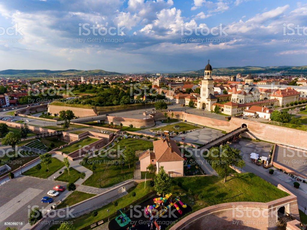 Alba Iulia Romania aerial view from helicopter stock photo