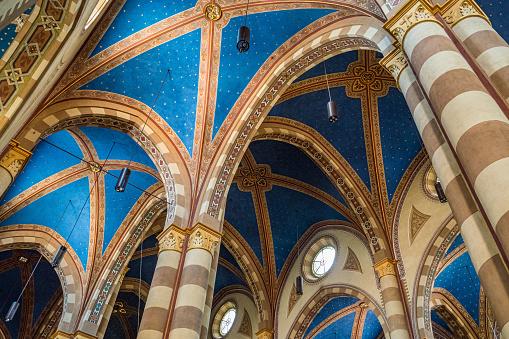 Alba, Piedmont, Italy - 17 June 2017: interior of the Alba Cathedral (Cattedrale di San Lorenzo)