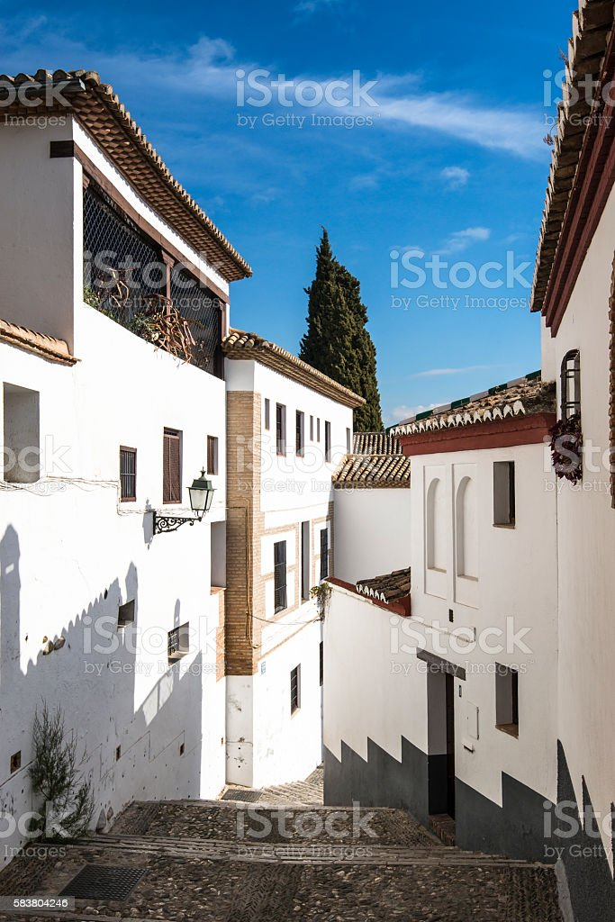 Albaicin district, narrow hilly streets of Granada. Andalusia, Spain stock photo