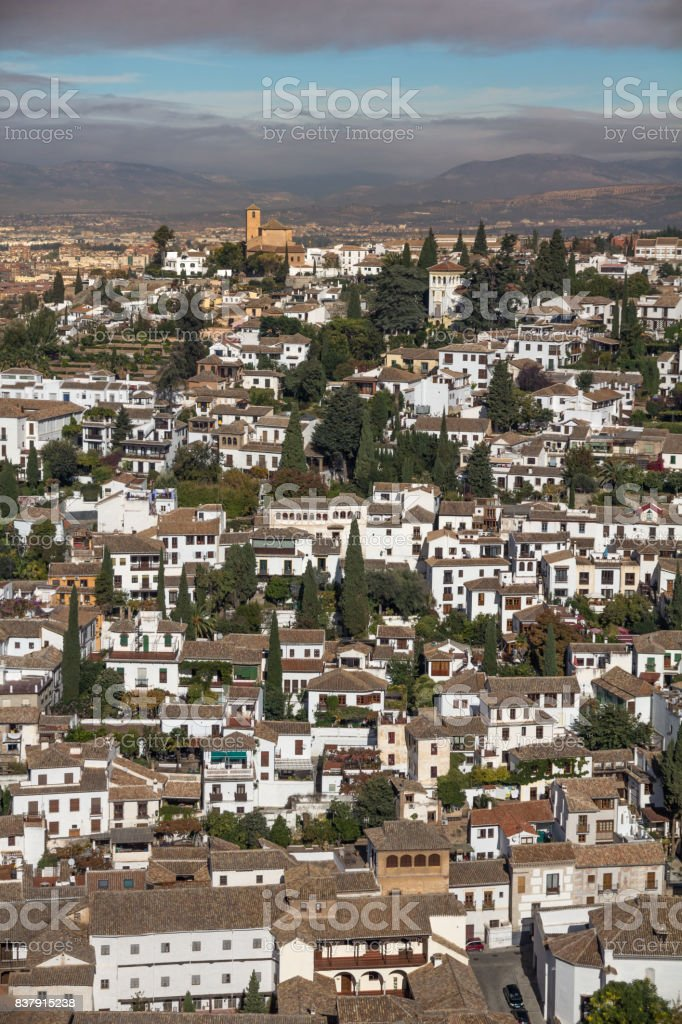 Albaicin, Granada from the Alhambra in the early morning stock photo