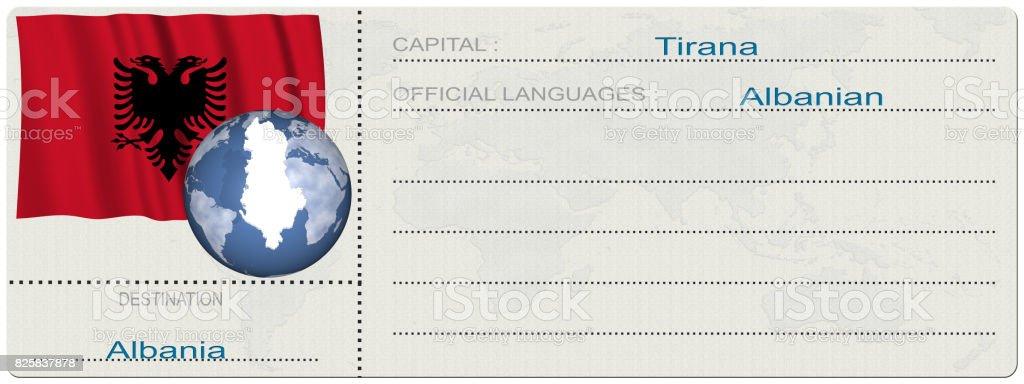 Albania. Destinazione. Biglietto. Carta di Imbarco. stock photo