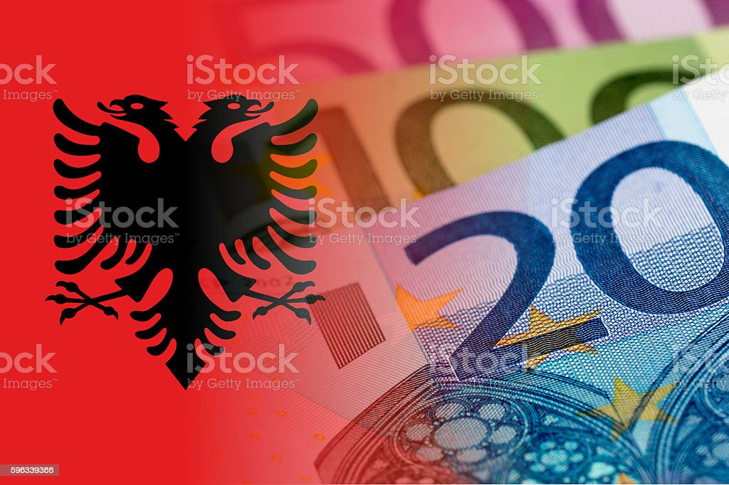 albania flag with euro banknotes royalty-free stock photo