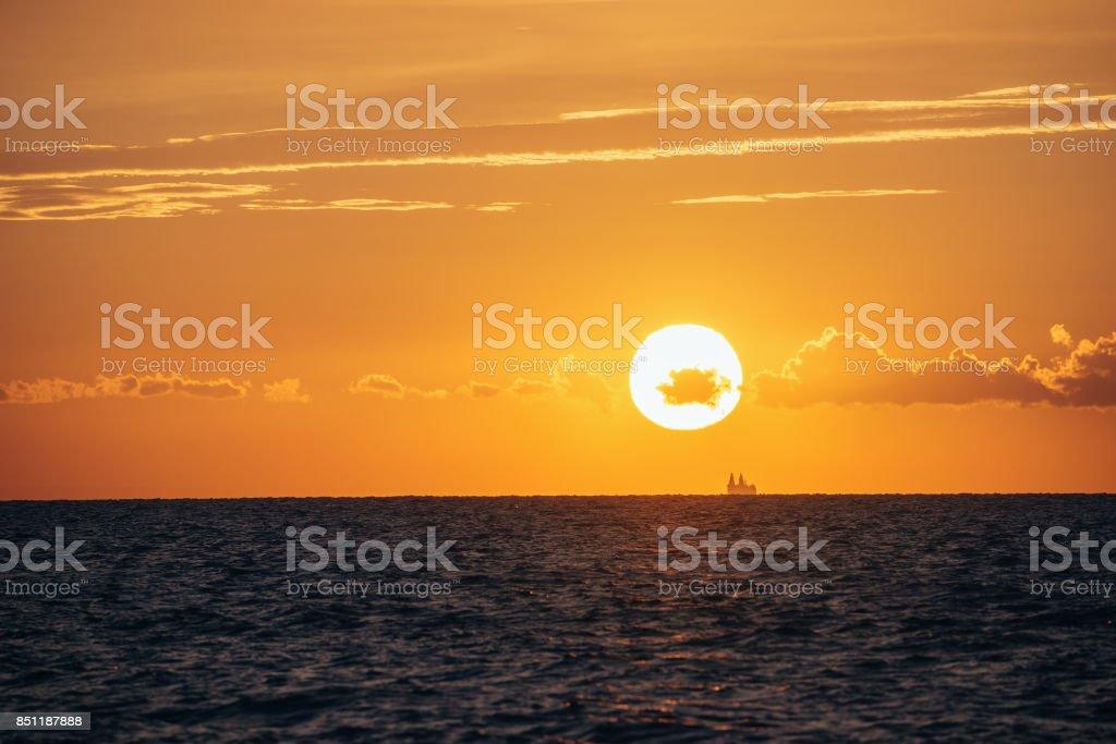 Albania. Seascape with beautiful sunset stock photo