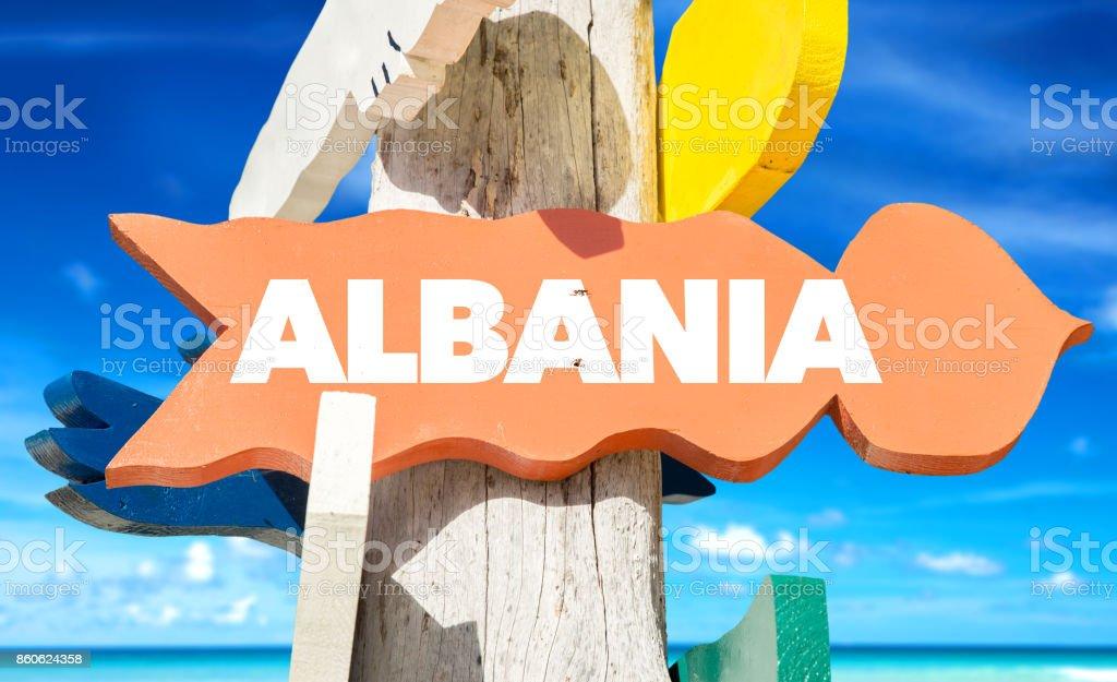 Albania sign stock photo