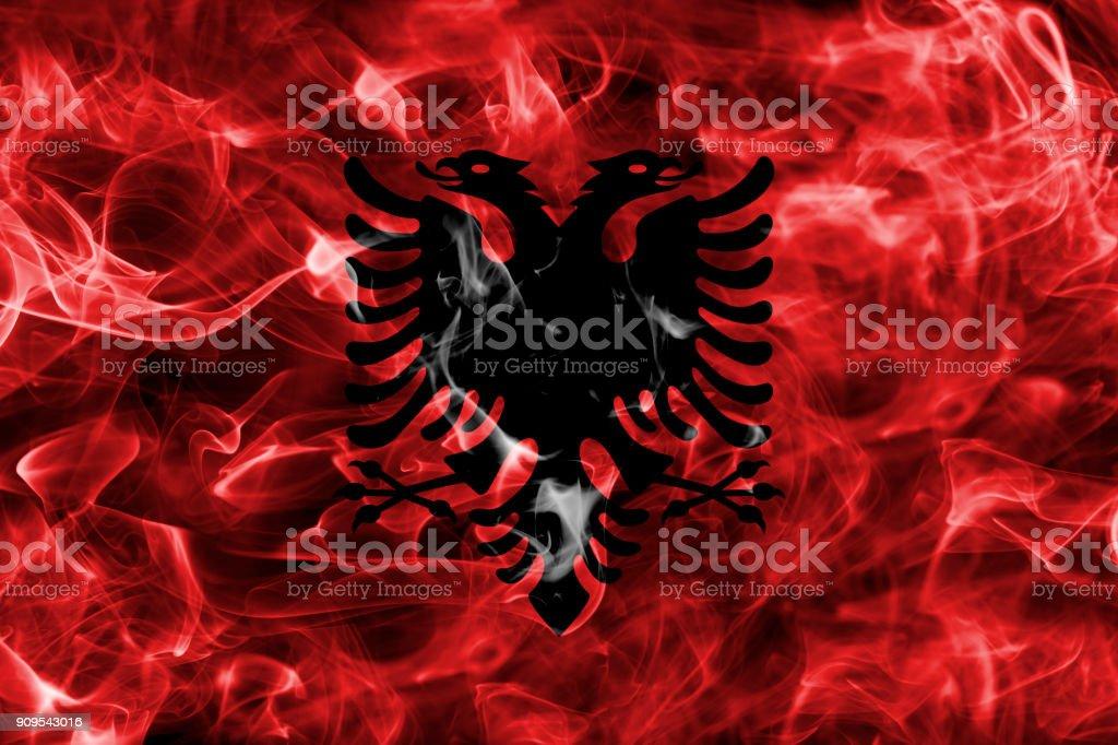 Albania smoke flag stock photo