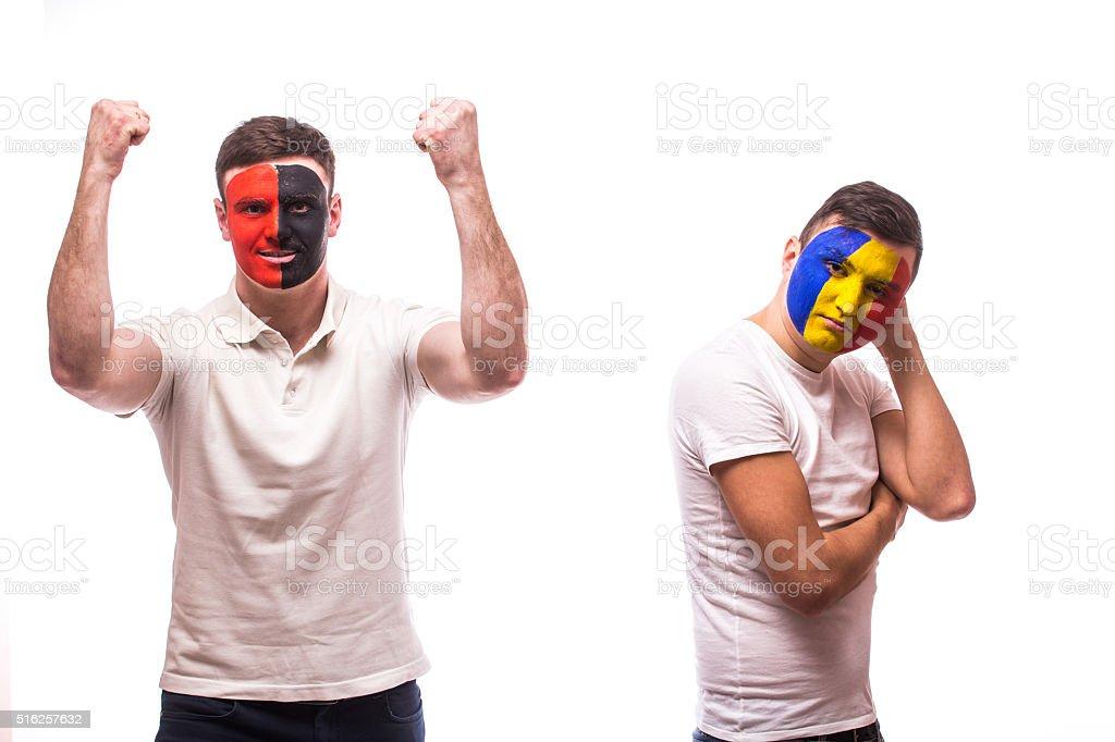 Albania vs Romania. Albania – win, Romania – lose. stock photo