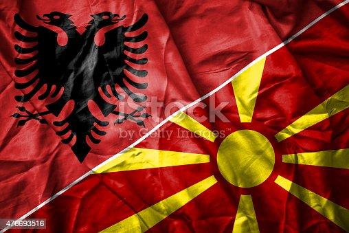 istock Albanian and Macedonian flag 476693516