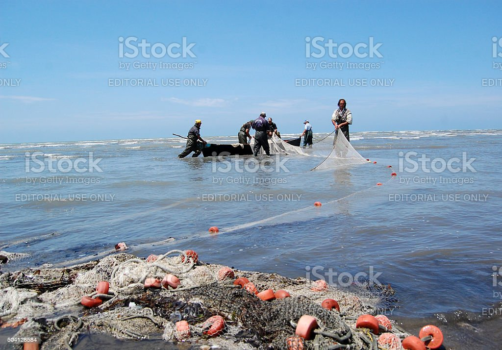 Albanian fishermen at work stock photo