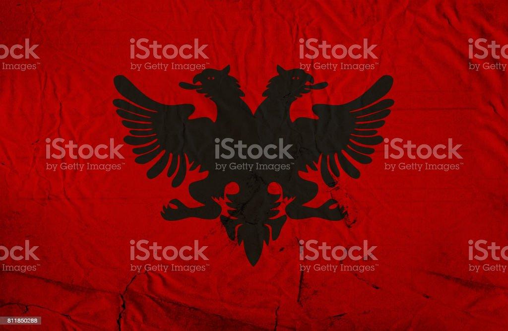 Albanian grunge flag stock photo