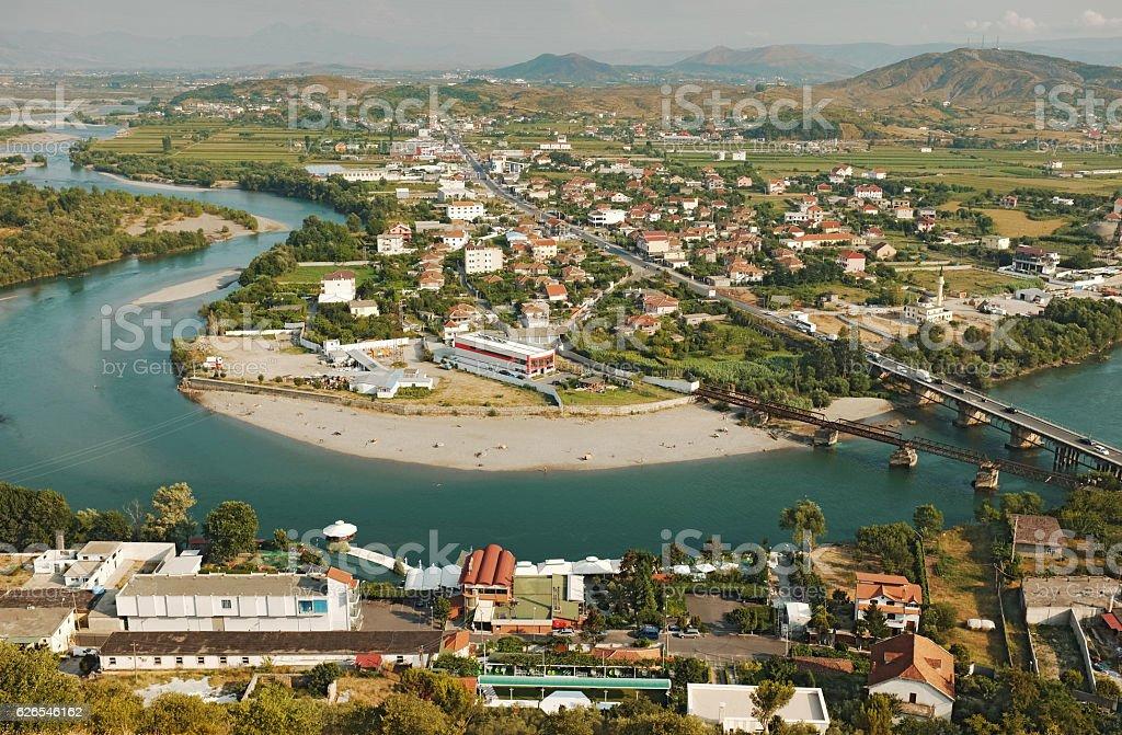 Albanian town Shkodra view stock photo