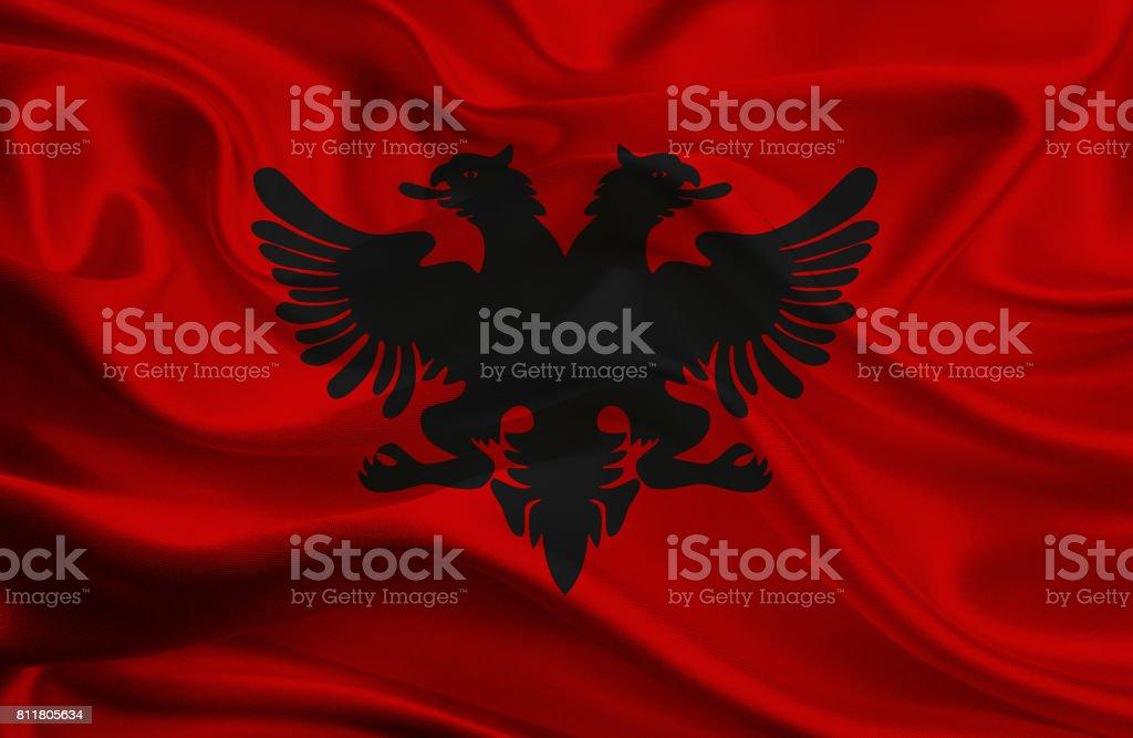 Albanian waving flag stock photo