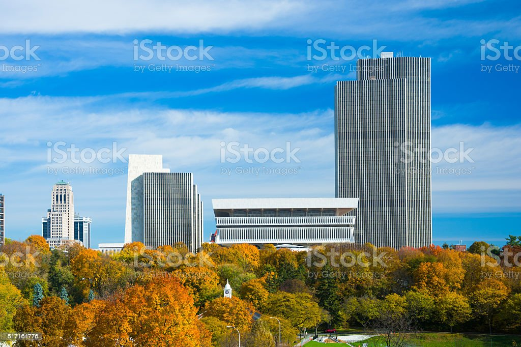 Albany downtown buildings and Autumn trees stock photo