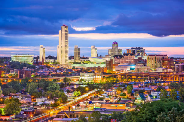 Albany New York Skyline Albany, New York, USA city skyline at twilight. albany county new york state stock pictures, royalty-free photos & images