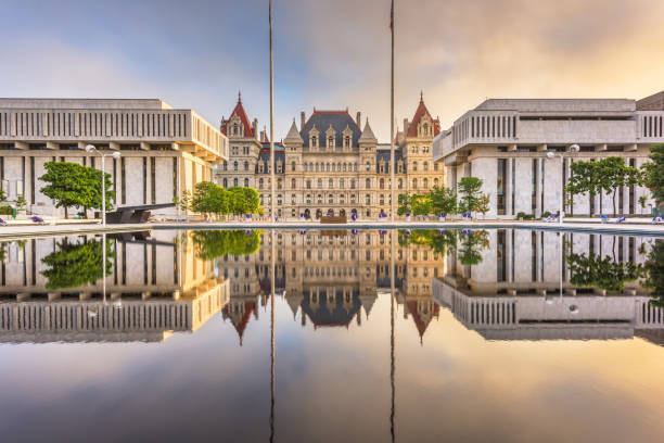 Albany, New York, USA at the New York State Capitol. Albany, New York, USA at the New York State Capitol at dusk. albany new york state stock pictures, royalty-free photos & images