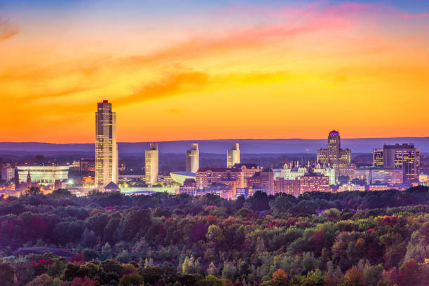 Albany, New York, USA Albany, New York, USA city skyline at dusk. albany new york state stock pictures, royalty-free photos & images